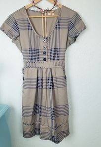 Anthropologie Tulle plaid belted dress NWOT